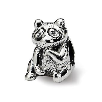 925 Sterling Silber poliert antike Finish Reflexionen Racoon Perle Charme