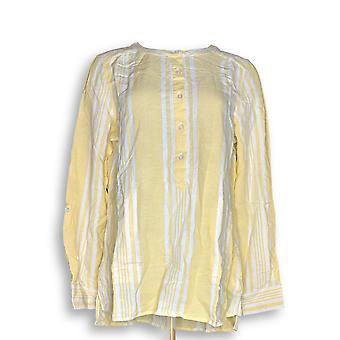 Denim & Co. Women's Top Striped Yarn Dyed Woven Yellow A275870