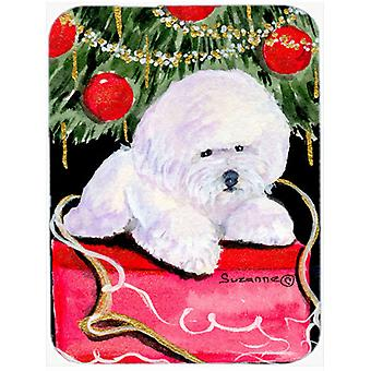 Christmas Tree with  Bichon Frise Glass Cutting Board Large