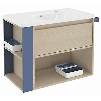 Bath+ 1 Drawer Cabinet + Shelf With Porcelain Basin Blue Oak-80CM