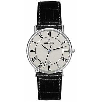 Michel Herbelin Mens Sonates Black Leather Strap 12443/S08 Watch