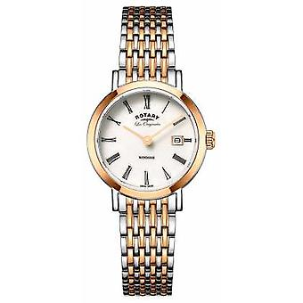 Rotary Womans Windsor Two Tone Silver Rose Gold Metal Strap LB90155/01 Watch