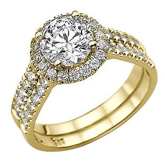 Moissanite Ring Forever One 2.00 CTW 7.50MM with Diamonds 14K Yellow Gold Halo Double Shank Round