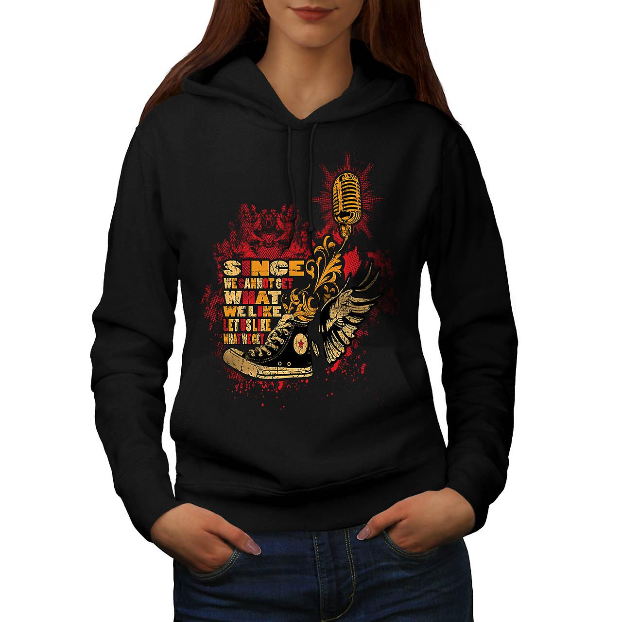 Like What We Get Vintage Women Black Hoodie | Wellcoda