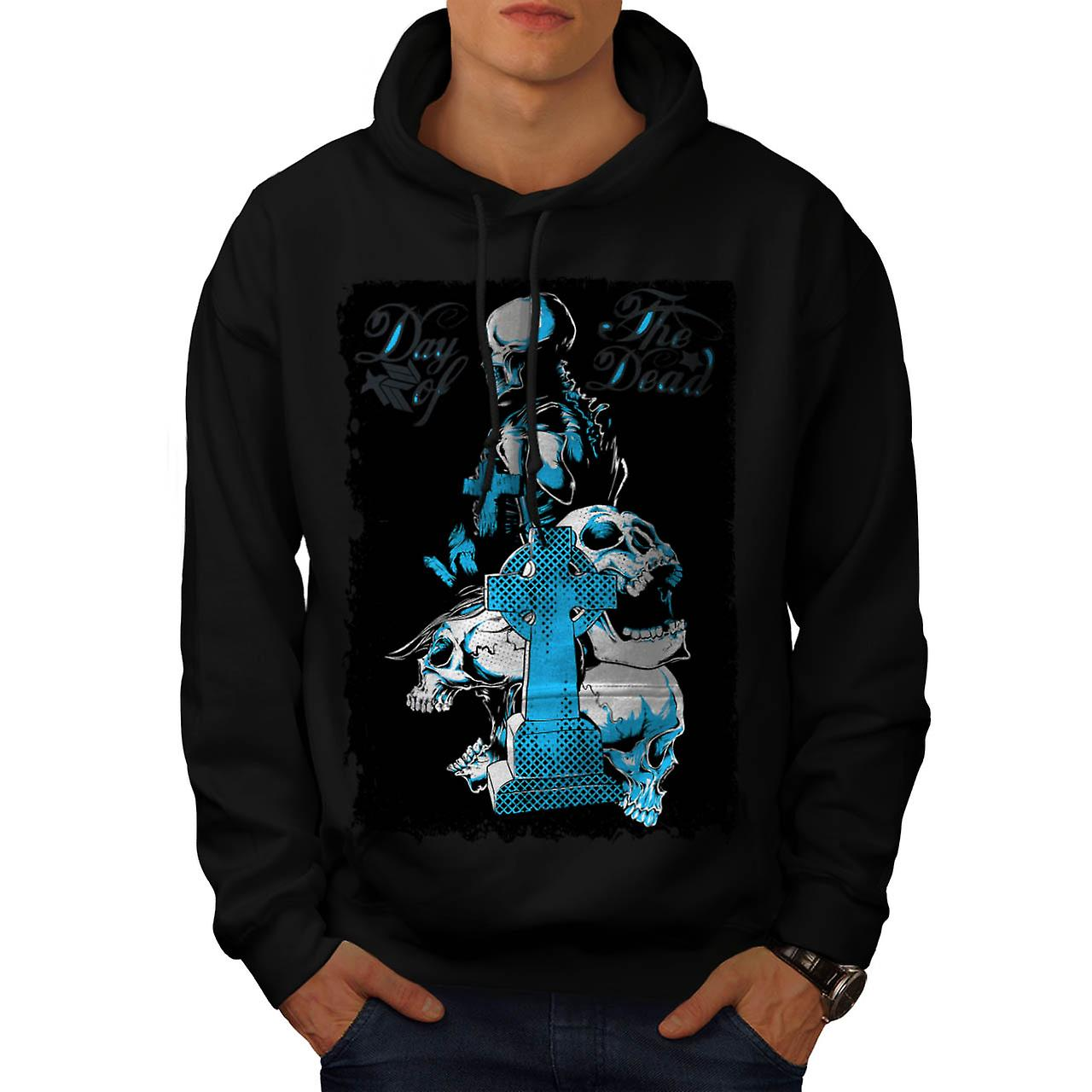 Dead Day Grave Yard Skull Tomb Men Black Hoodie | Wellcoda
