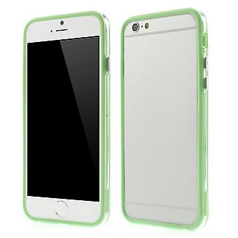 Bumper in TPU rubber and hard plastic for Apple iPhone 6 4.7 (green + transparent)