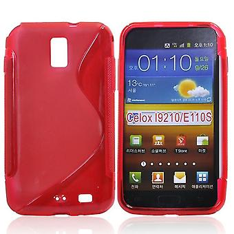 Cover with rubber TPU case for Samsung Galaxy S2 LTE i9210 (red)
