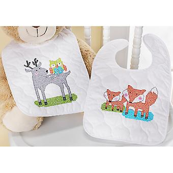 BFF Bib Pair Stamped Cross Stitch Kit-9