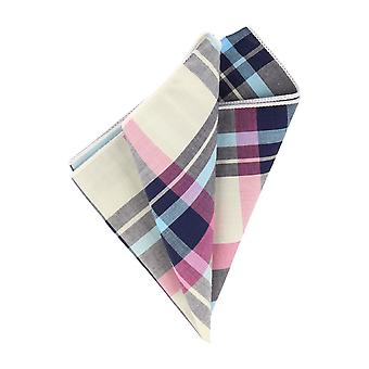 Andrews & co. Blue-White-Pink Plaid handkerchief Hanky Cavalier cloth