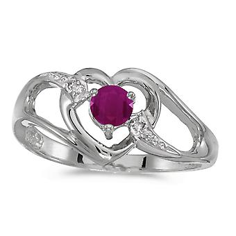 10k White Gold Round Ruby And Diamond Heart Ring