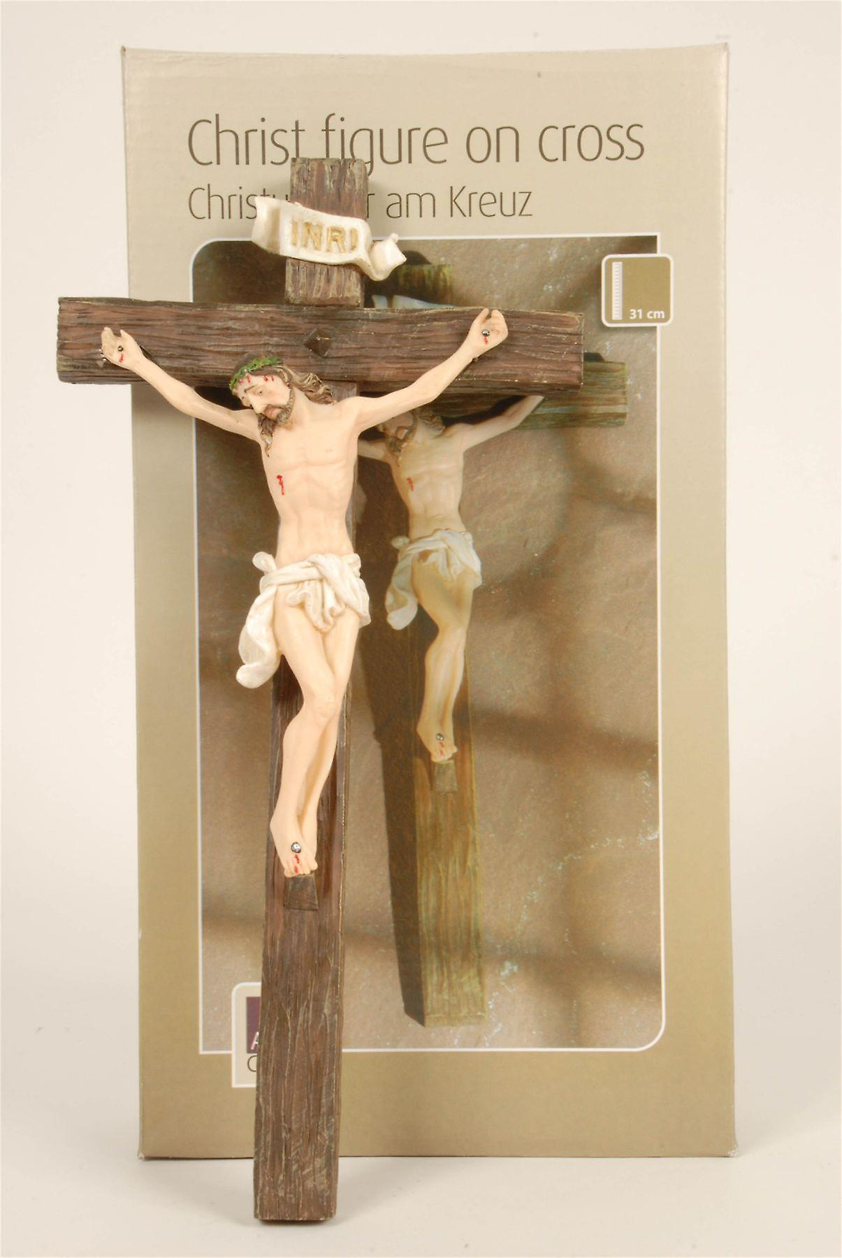 Christ Figure on Cross 31cm Ornament Decoration made from Polyresin
