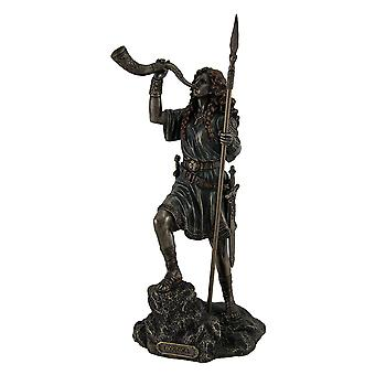 Boudica Warrior Queen of Iceni Holding Spear Blowing Celtic Horn Statue