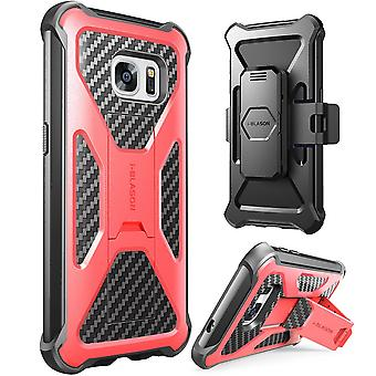 i-Blason-Samsung Galaxy S7-Prime Series Kickstand Case with Belt Clip Holster - Red