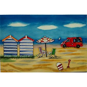 YH Arts Ceramic Wall Art, Day At The Beach Ice Cream Van 12 x 8