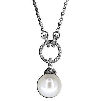 Necklace With Pendant 925 Sterling Silver Jewellery, White Pearl, White Zirkonia