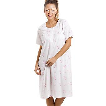 Camille Soft Cosy Knee Length Short Sleeve Pink Floral Nightdress