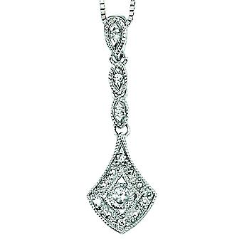 9Ct White Gold Diamond Necklace