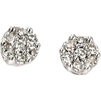 Elements Gold Exquisite 9ct White Gold Diamond Cluster Stud Earrings - Clear/White Gold