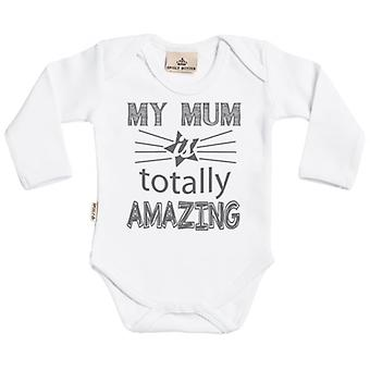 Spoilt Rotten Mum Is Totally Amazing Long Sleeve Organic Baby Grow