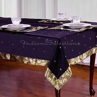 Schwarz - handgemachte Sari Tischdecke (Indien)