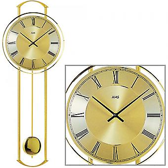 Wall clock brass metal quartz clock with pendulum quartz wall clock