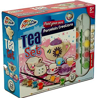 Grafix Paint Your Own Tea Set - Includes 8 Paints & 1 Paintbrush