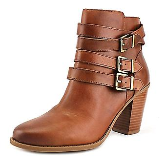 INC International Concepts Laini Women Round Toe Leather Brown Ankle Boot