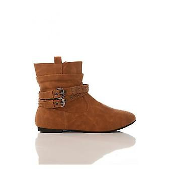 The Fashion Bible Studded Strap Ankle Boots In Camel