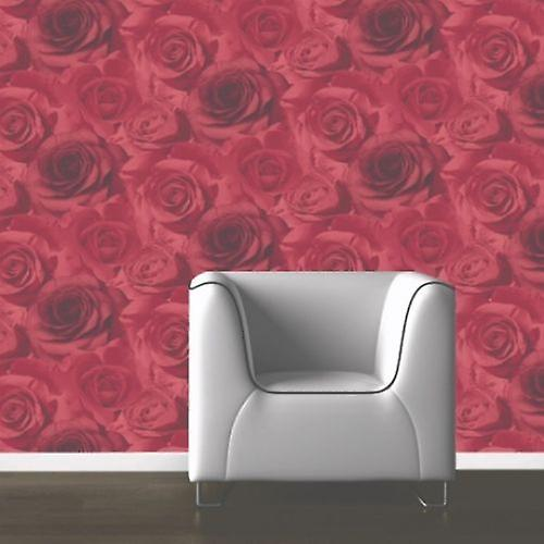 Muriva Madison Floral Rose Flower Red Large Rose Heavyweight Wallpaper