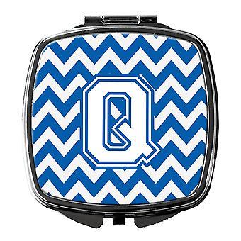 Carolines Treasures  CJ1045-QSCM Letter Q Chevron Blue and White Compact Mirror