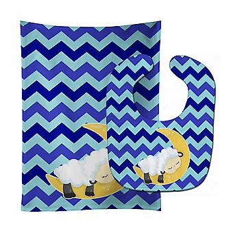 Carolines Treasures  BB6877STBU Sheep on Moon Chevron Baby Bib & Burp Cloth