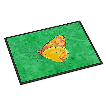 Butterfly Orange on Green Indoor or Outdoor Mat 18x27 Doormat