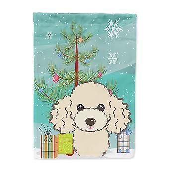 Carolines Treasures  BB1630GF Christmas Tree and Buff Poodle Flag Garden Size