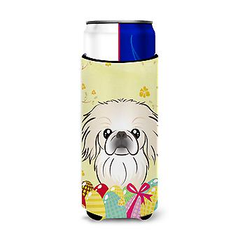 Pekingese Easter Egg Hunt Michelob Ultra beverage Insulator for slim cans