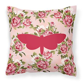 Moth Shabby Chic Pink Roses  Fabric Decorative Pillow