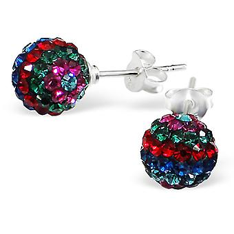 Ball - 925 Sterling Silver Crystal Ear Studs