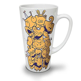 Cartoon Face Happy NEW White Tea Coffee Ceramic Latte Mug 17 oz | Wellcoda