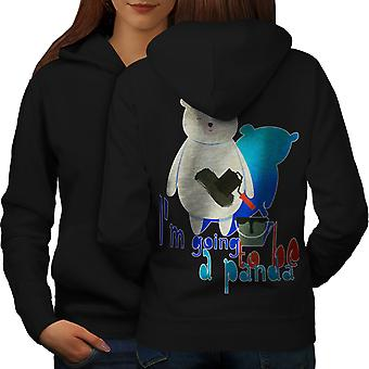 Panda Cute Animal Funny Women BlackHoodie Back | Wellcoda