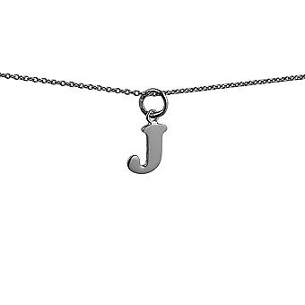 Silver 9x11mm plain Initial J Pendant with rolo Chain 14 inches Only Suitable for Children