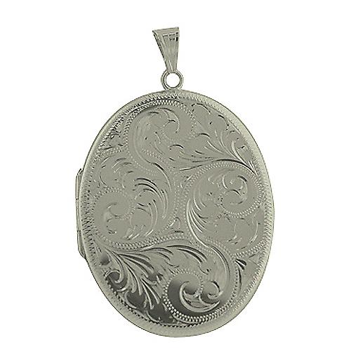 Silver 45x35mm hand engraved flat oval Locket