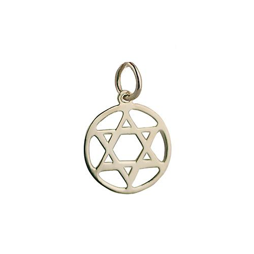 9ct Gold 14mm plain round Star of David Pendant