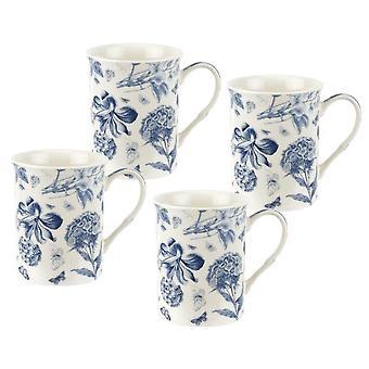 Spode Botanic Blue Set of 4 Mugs, 12oz