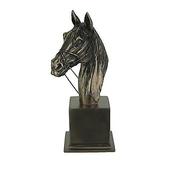 Stunning Bronze Finish Thoroughbred Horse Bust Statue