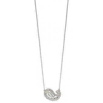 Elements Silver Textured Paisley Shape Necklace - Silver