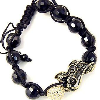 Unisex bling bracelet - DISCO BALL ONYX DRAGON gold II