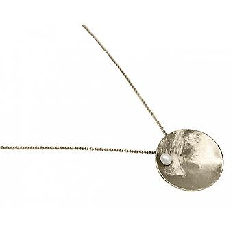 Ladies - necklace - pendant - 925 Silver - Bowl - Pearl - White - 45 cm
