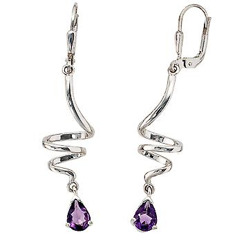 Boutons 925 /-s Silver earrings 925 Amethyst Sterling Silver earrings
