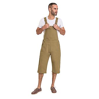 USKEES Mens Loose fit Dungaree Shorts - Olive Bib Overall Shorts