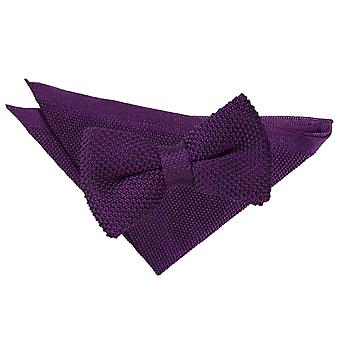 Cadbury Purple Knitted Bow Tie & Pocket Square Set