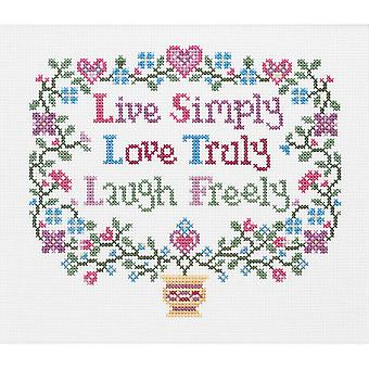 Live, Love, Laugh Counted Cross Stitch Kit-8